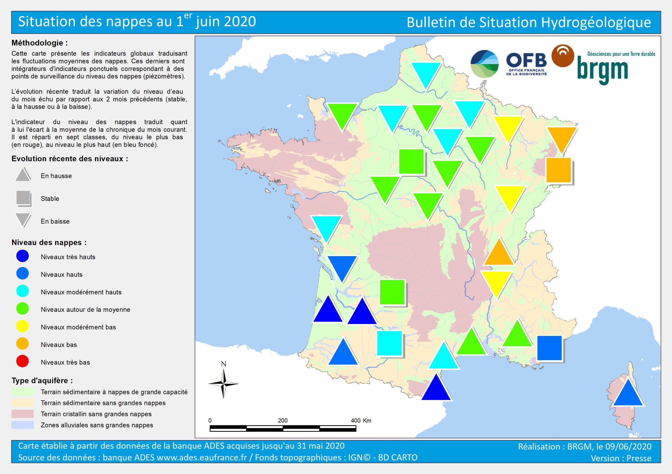 la situation des nappes en Franc